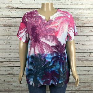 Catherines Bright Tropical Palm Trees T-shirt Top